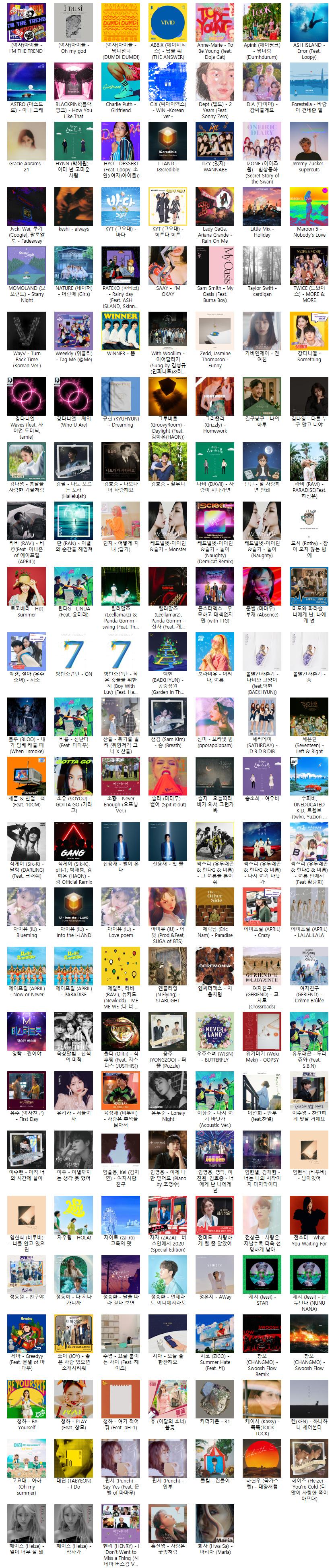 2020년 인기음원 모음 173곡 [무손실 FLAC]